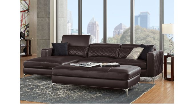 Sorrento Black Cherry 3 Pc Sectional Living Room - Contemporary, Synthetic