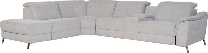 Turano Gray 6 Pc Dual Power Reclining Sectional - Contemporary, Textured
