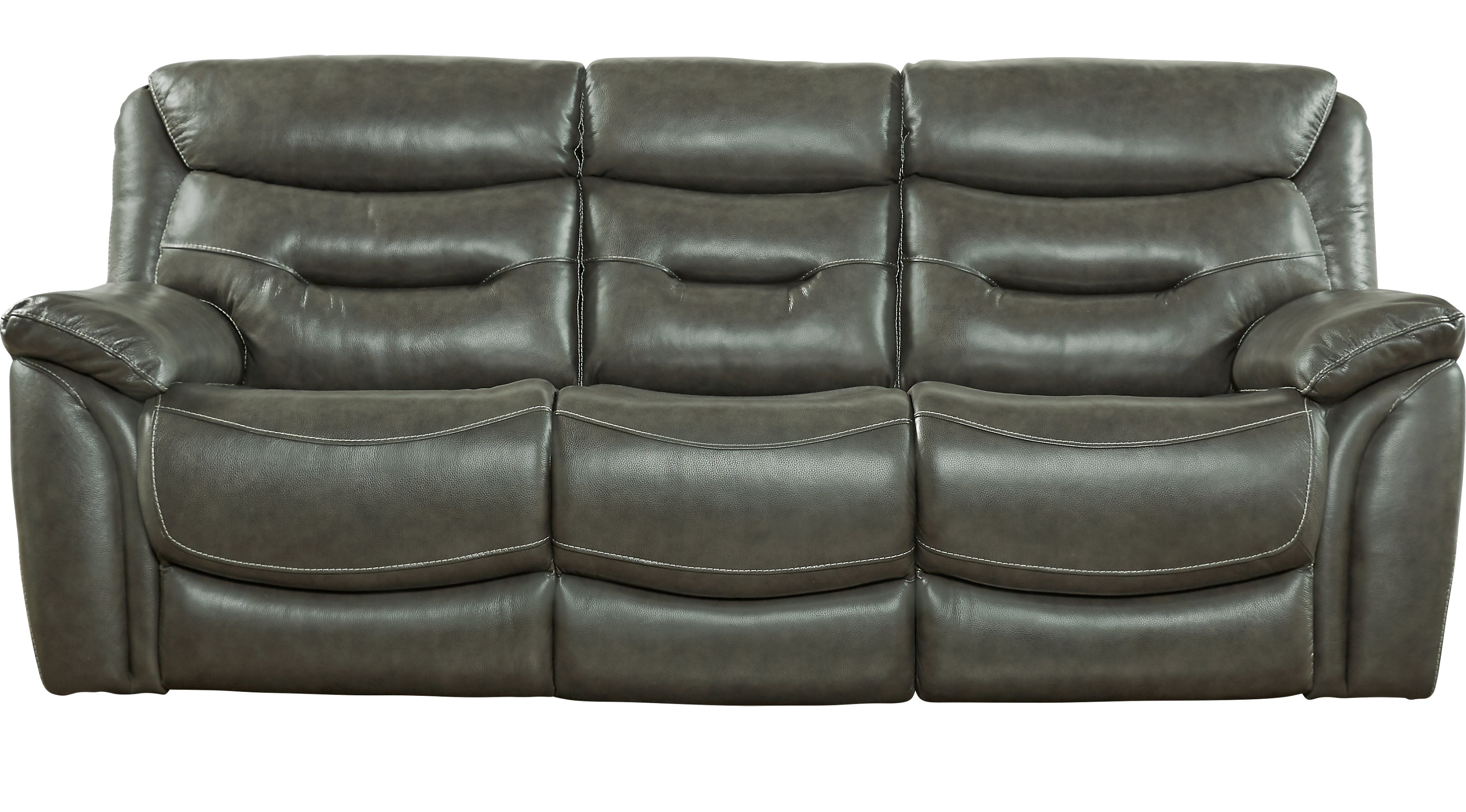 Gray Leather Reclining Sofa