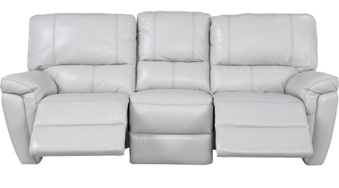 Browning Bluff Light Gray Leather Reclining Sofa - Contemporary,