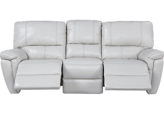 Beau $999.99   Browning Bluff Light Gray Leather Reclining Sofa   Contemporary,