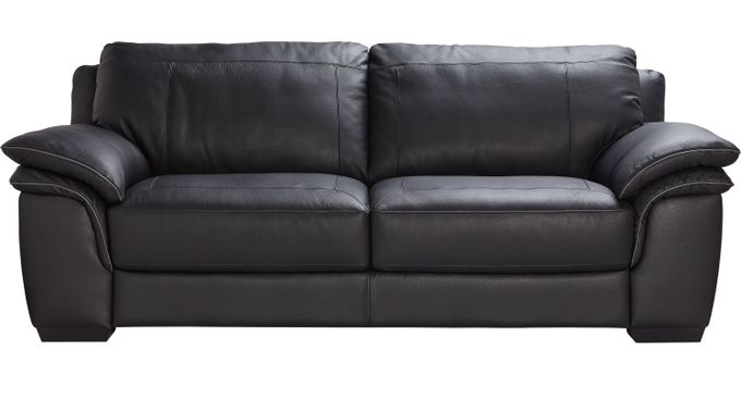 Grand Palazzo Black Leather Sofa - Classic - Contemporary,