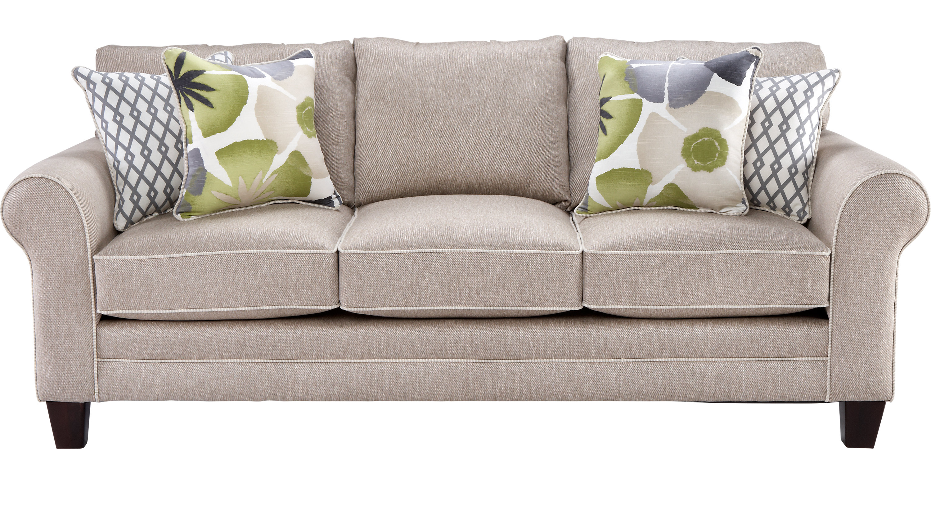 Lilith pond taupe grayish brown sofa classic for Classic taupe living room