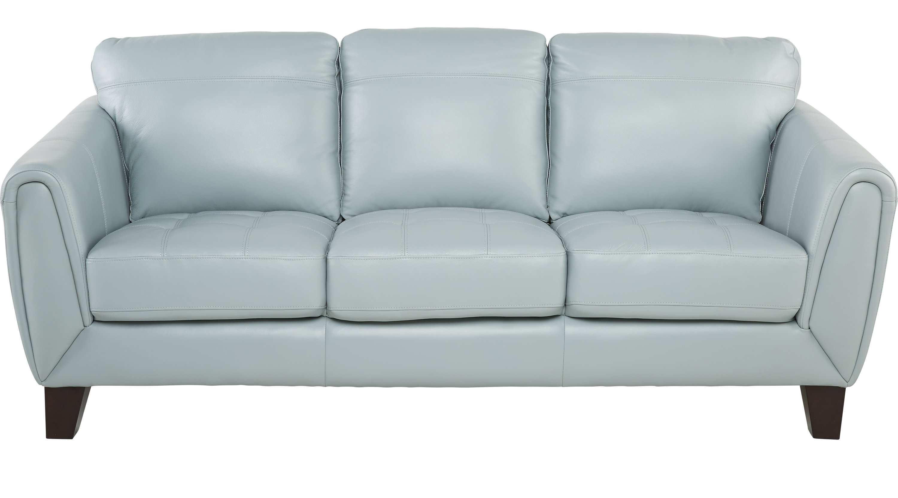 Livorno Aqua Light Blue Leather Sofa Classic