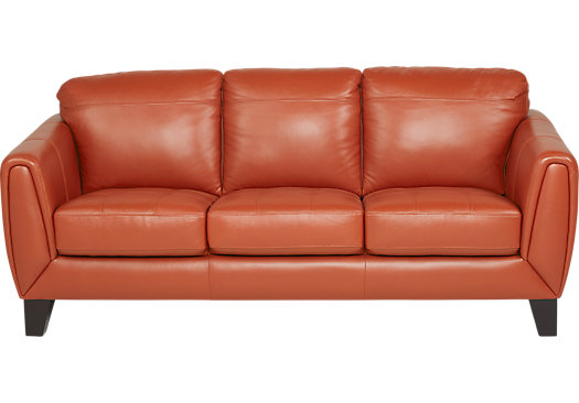 Superbe Livorno Papaya Leather Sofa