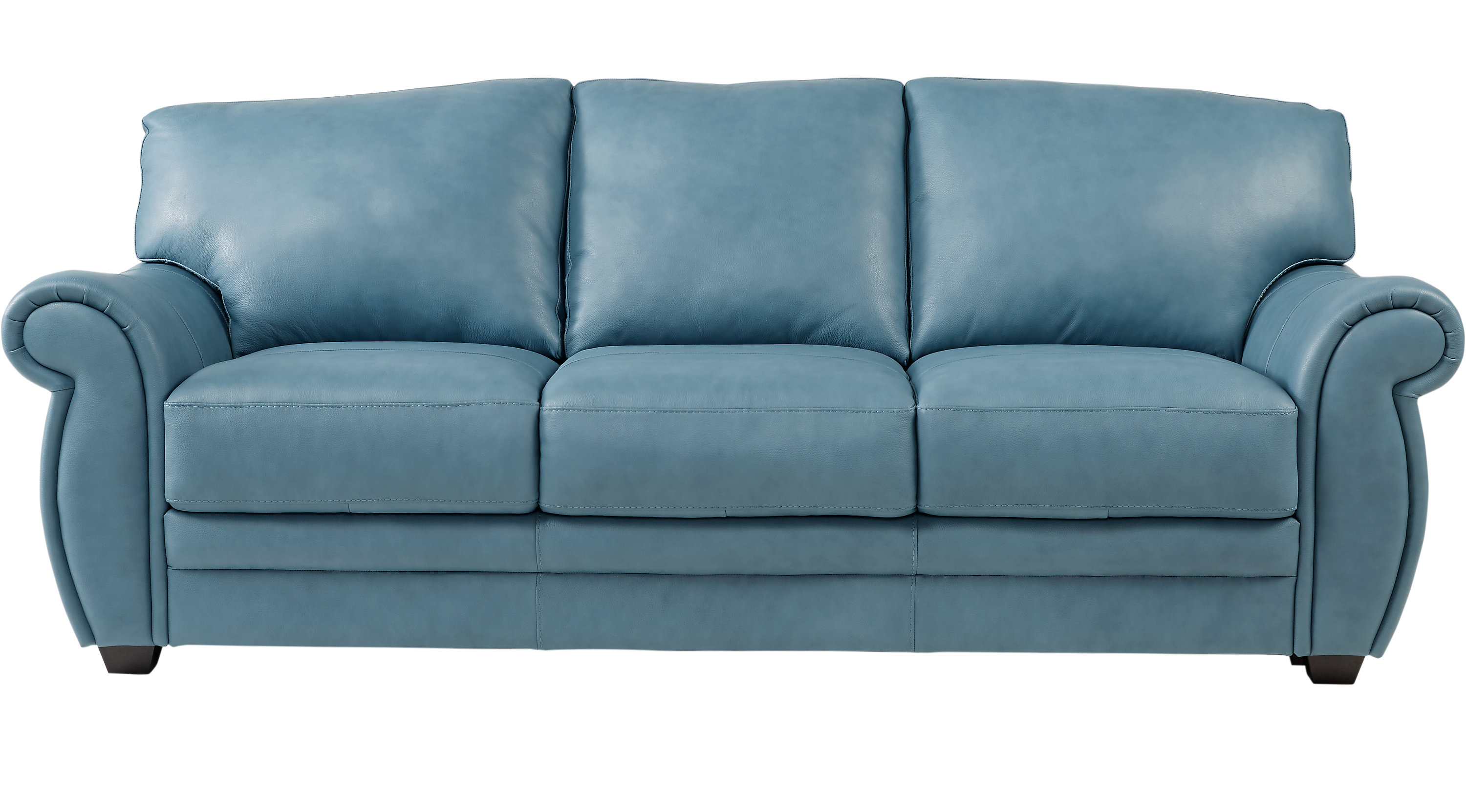 1 Martello Blue Leather Sofa Classic Transitional