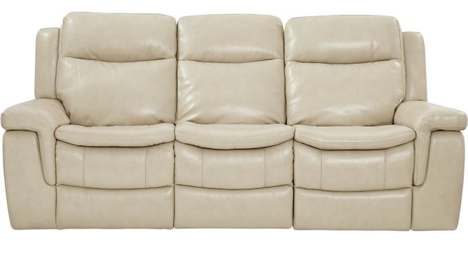 $888.00 - Milano Stone (beige) Leather Reclining Sofa - Contemporary,