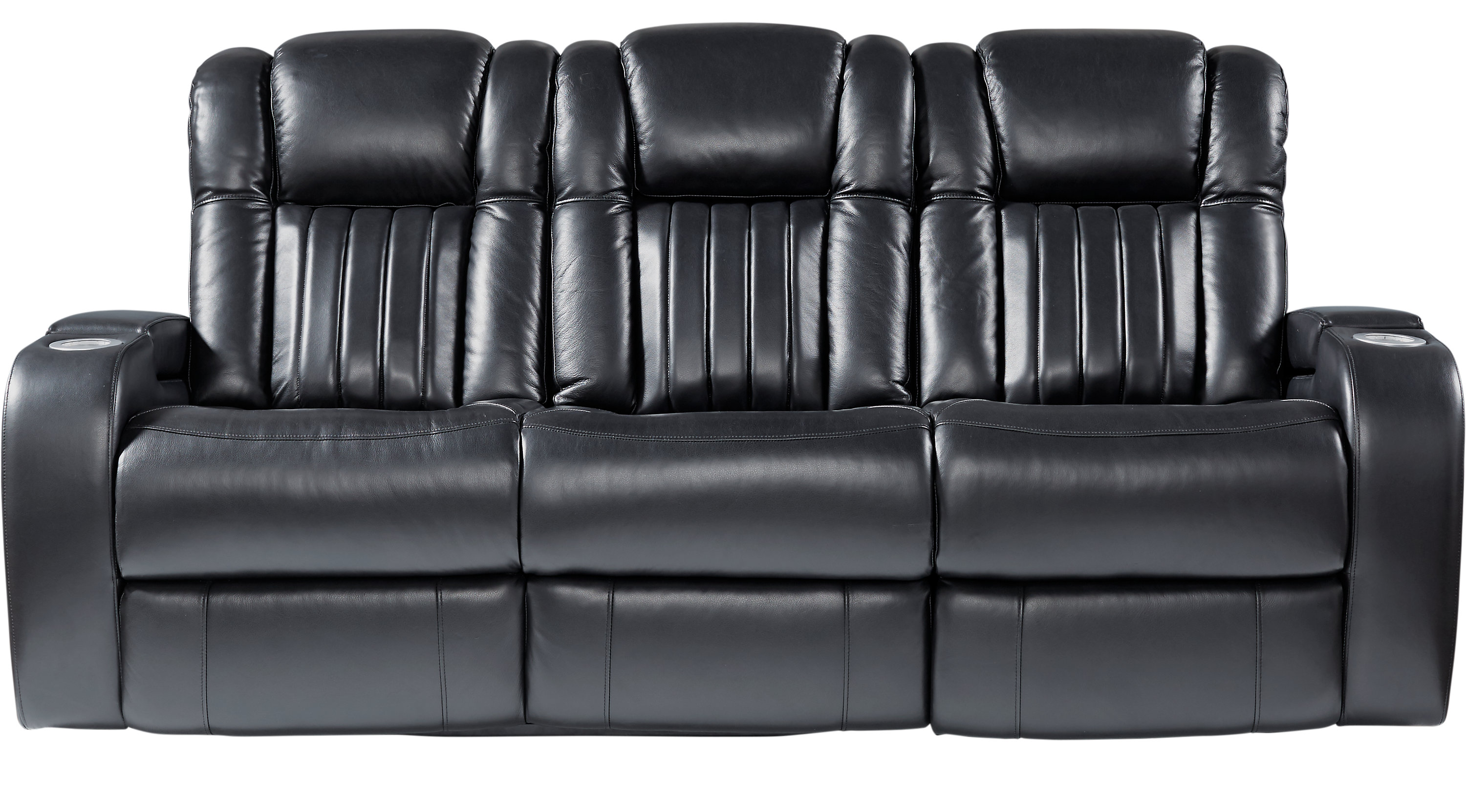 Servillo Black Leather Dual Power Reclining Sofa