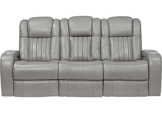 1 599 99 Servillo Platinum Grayish White Leather Power Reclining Sofa Contemporary