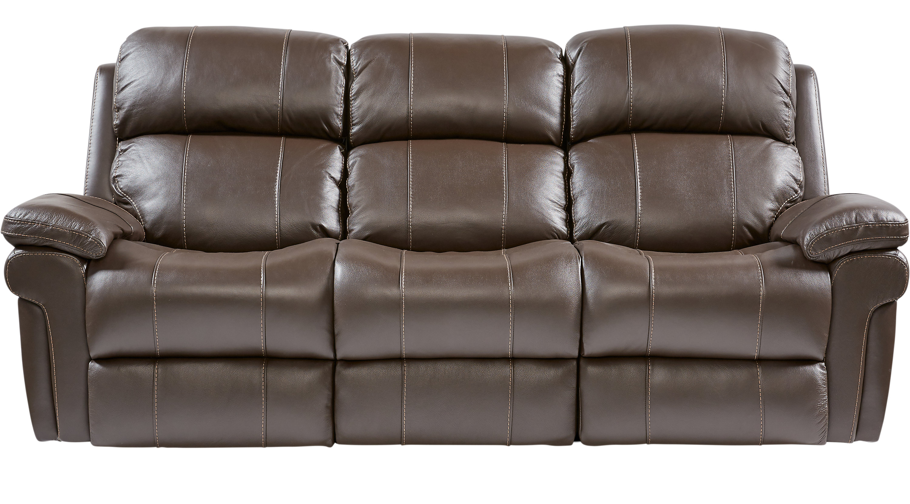 1 Trevino Chocolate Brown Leather Reclining Sofa Contemporary