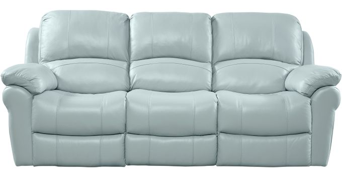 $999.99 - Vercelli Aqua (light blue) Leather Reclining Sofa ...