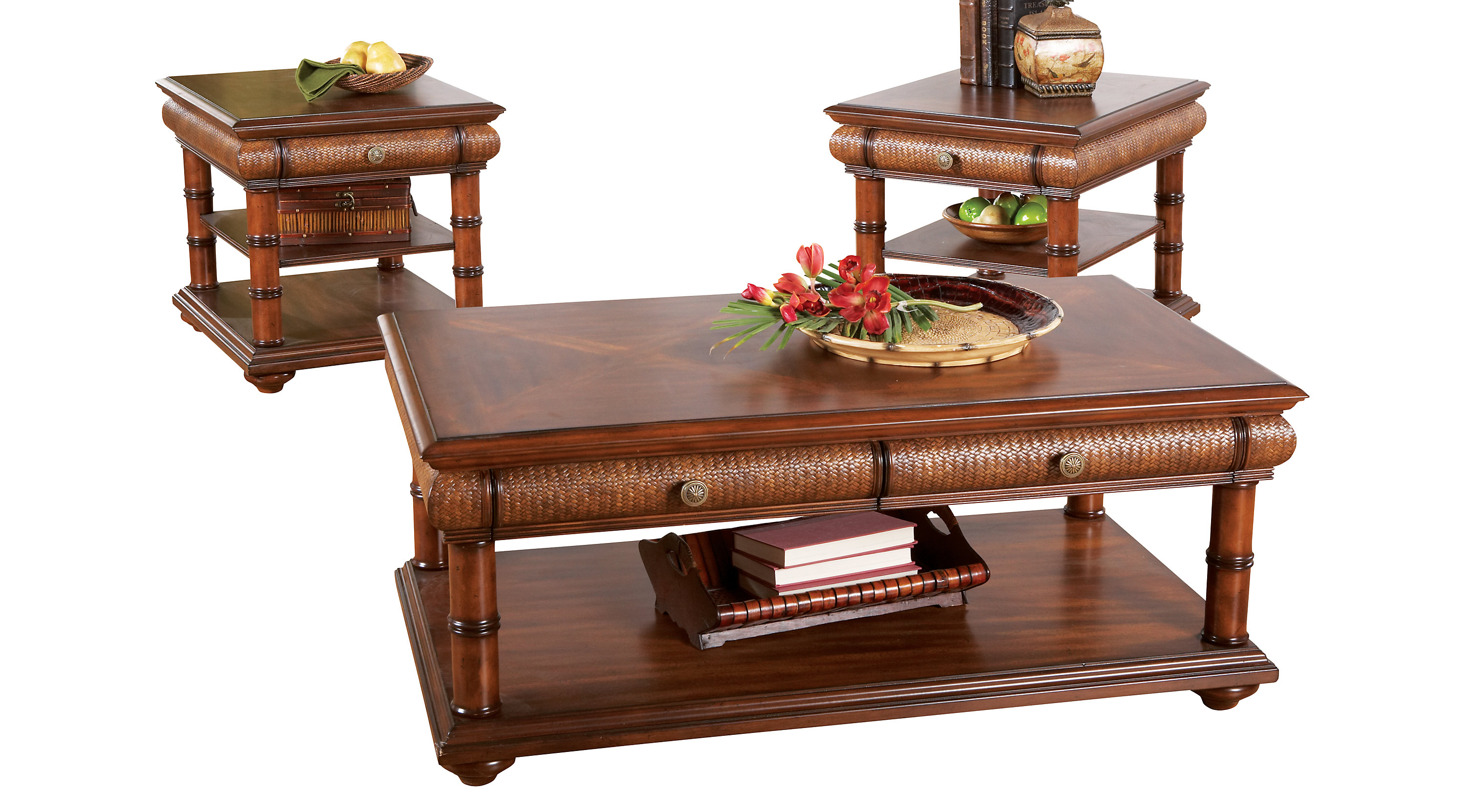 $799.97 - Key West Tan 3 Pc Table Set - Rectangle - Casual