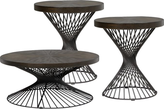 Kanister Brown 3 Pc Table Set - Round - Transitional