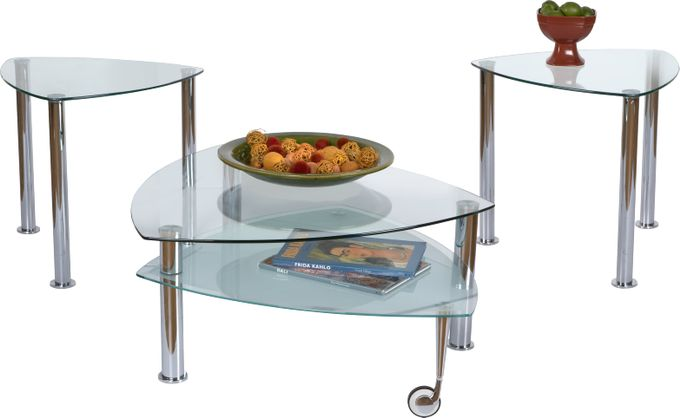 Landmark Metal 3 Pc Table Set - Glass Top - Contemporary