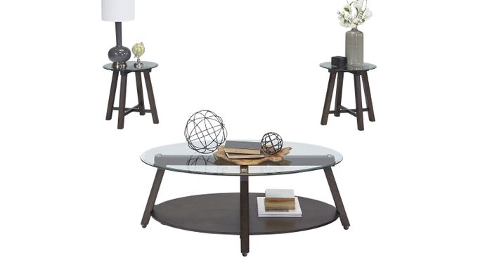 Ramsgate Brown 3 Pc Table Set - Glass Top - Contemporary