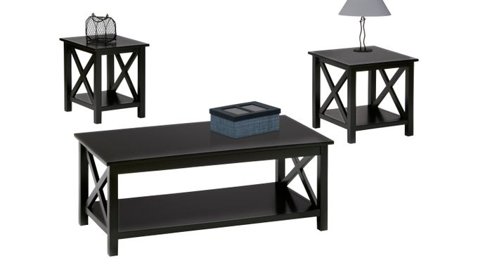 Scotford Black 3 Pc Table Set - Rectangle - Transitional