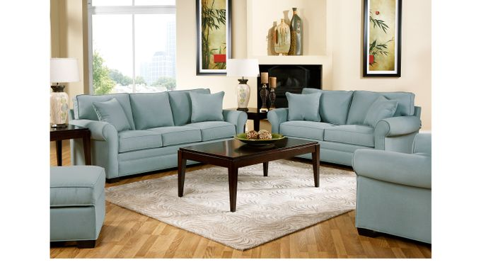 1 649 99 Bellingham Hydra Sky Light Blue Blue Microfiber 7 Pc Living Room Classic Contemporary