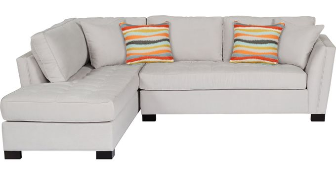 Calvin Heights Platinum (grayish white)  2 Pc Sectional - Contemporary, Microfiber