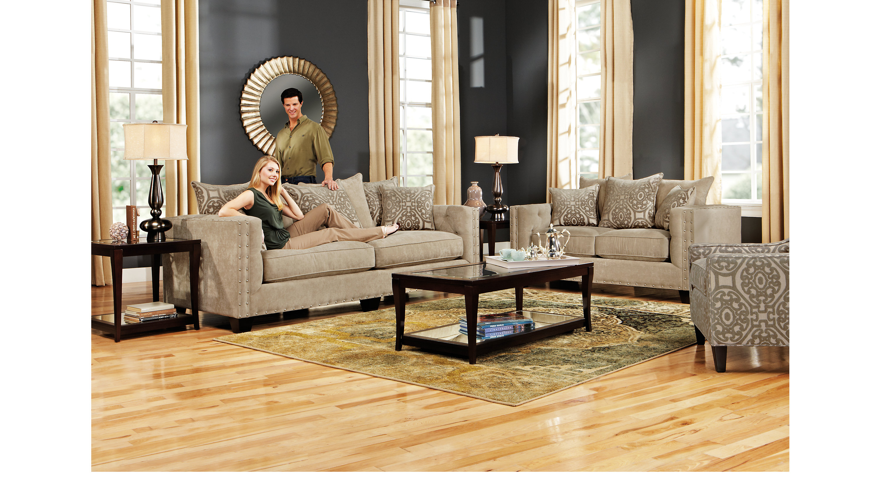1 sidney road taupe grayish brown 5 pc living for Classic taupe living room