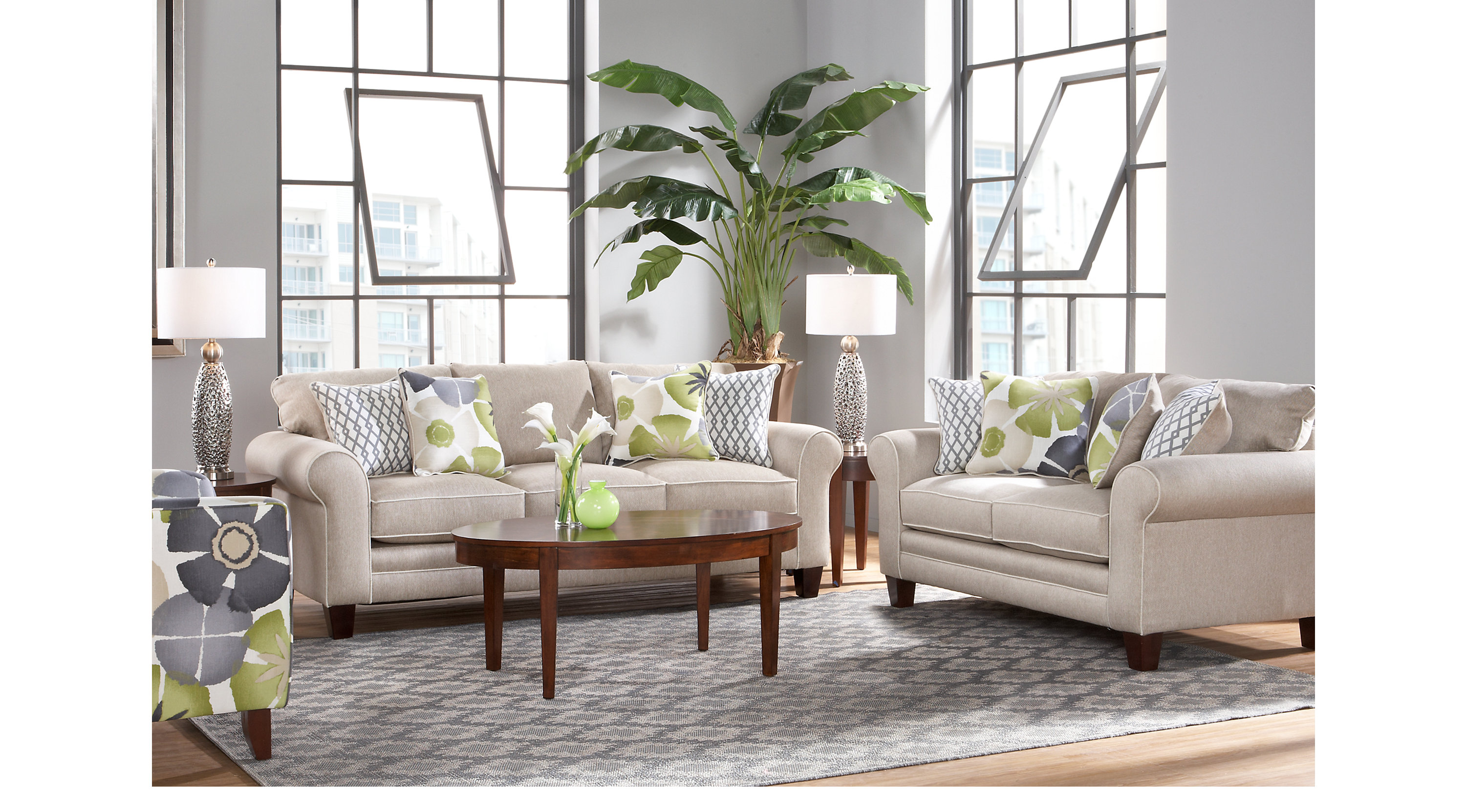1 lilith pond taupe grayish brown 5 pc living for Classic taupe living room