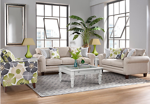 1 lilith pond taupe grayish brown 8 pc living for Classic taupe living room