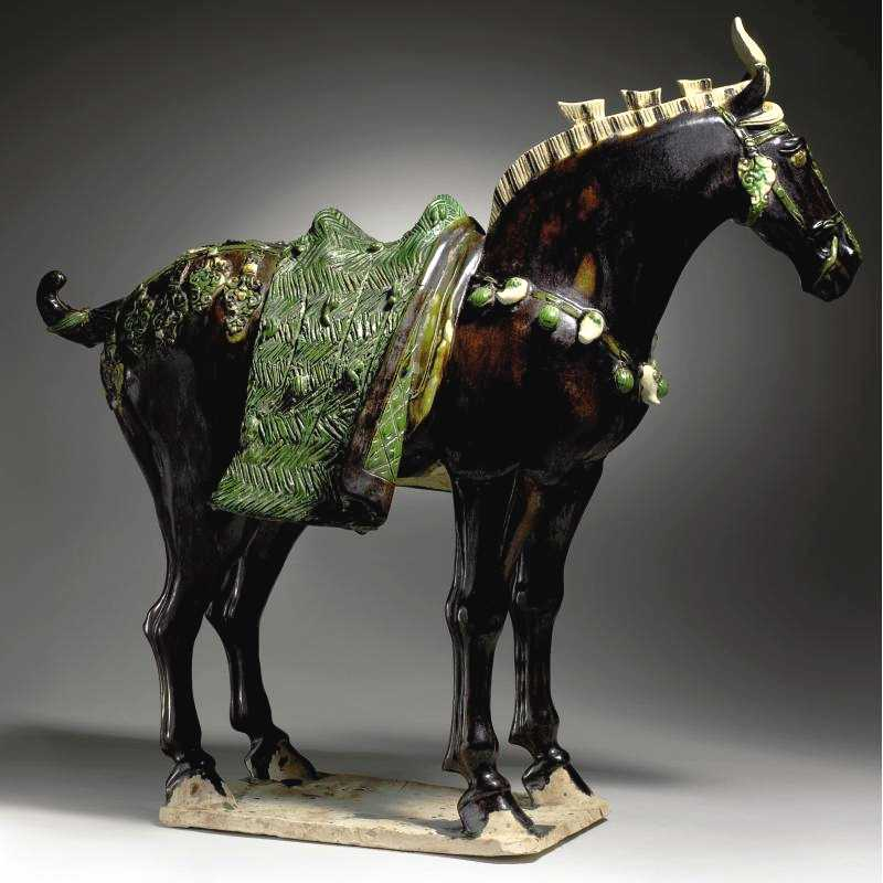 Chinese Art: Black Glazed Pottery Figure of a Fereghan Horse Tang Dynasty