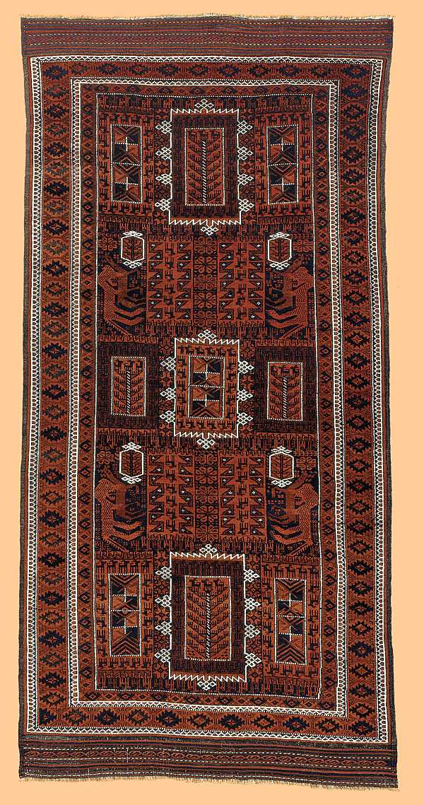 Baluch lion and antelope rug Persia late 19th C