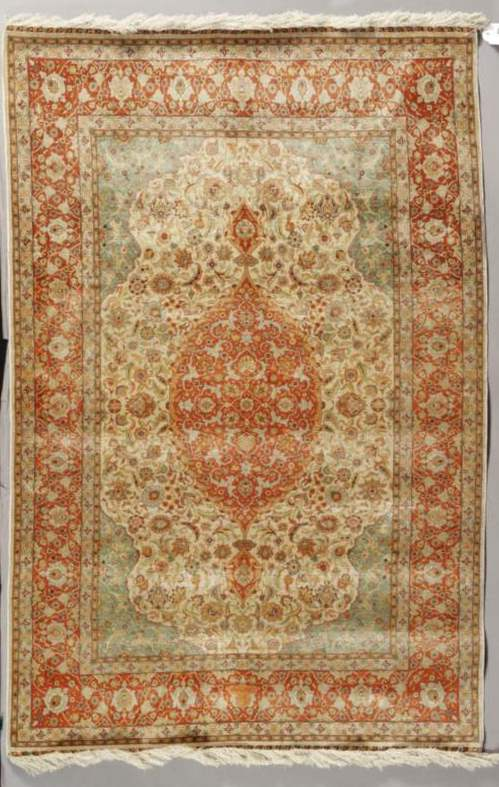 A Hereke Silk Rug late 20th c.