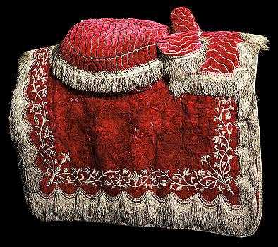 A silver embroidered velvet saddle cloth circa 1700