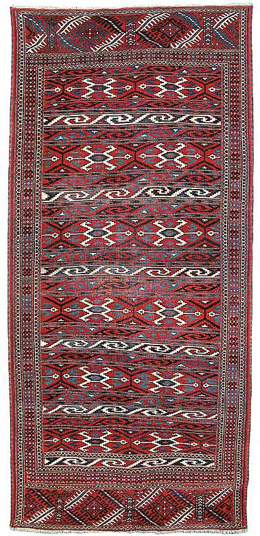 Northeast Persian Yomud Djaffabai Kilim, Late 19th C.