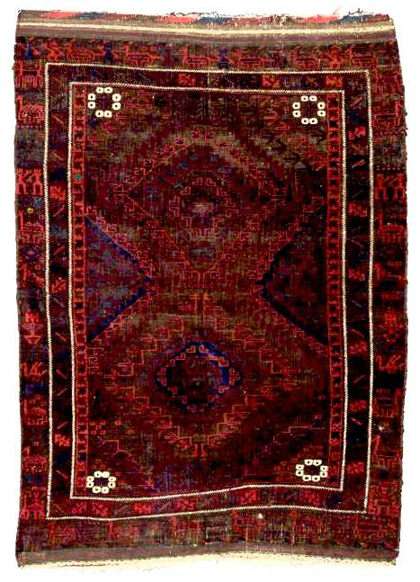 Baluch Rugs: Belouch Rug w/Humans and Animal Border