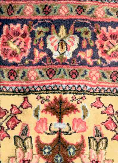 Yellow Field Sarouk Rug