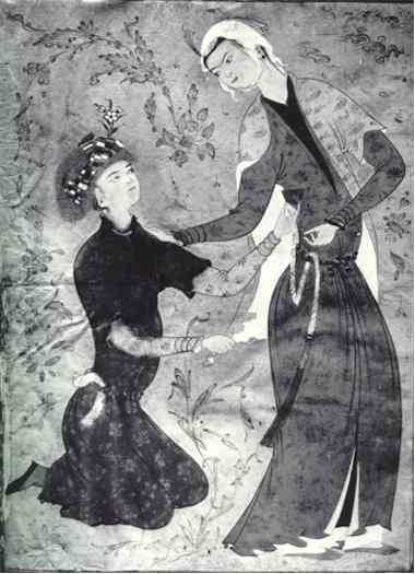 Persian Miniature Painting: The Lovers by Mirza Ali circa 1565 - 1570