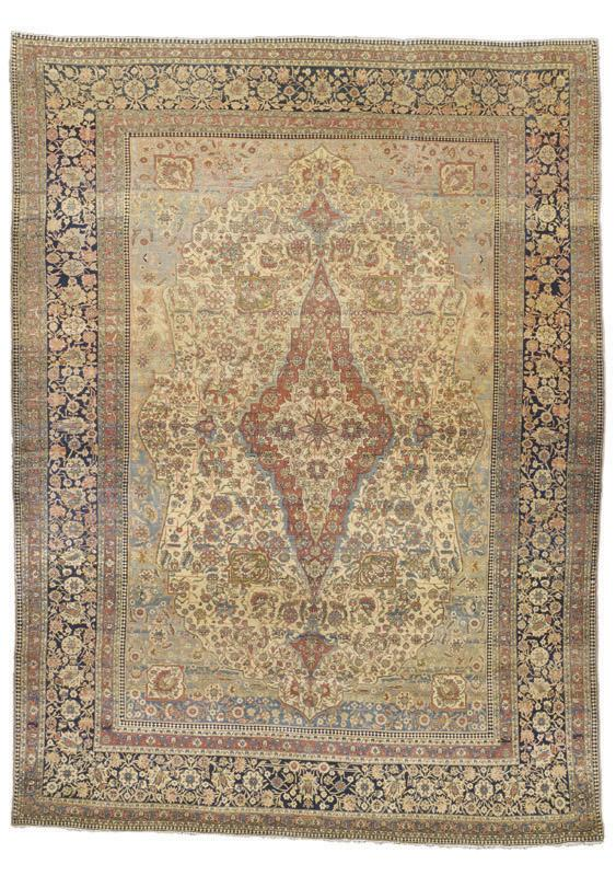 Kashan Rugs: Mohtashem Kashan Carpet Last Quarter 19th C.