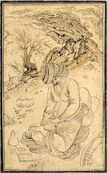 Reza 'Abbasi Figure with Animals in Margin