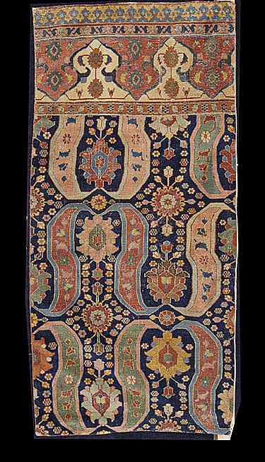 The Khorossan sickle-leaf design Persian carpet fragment