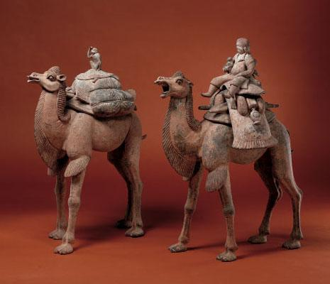 Chinese Art: Tang Dynasty Camels with Riders and Pet Monkeys