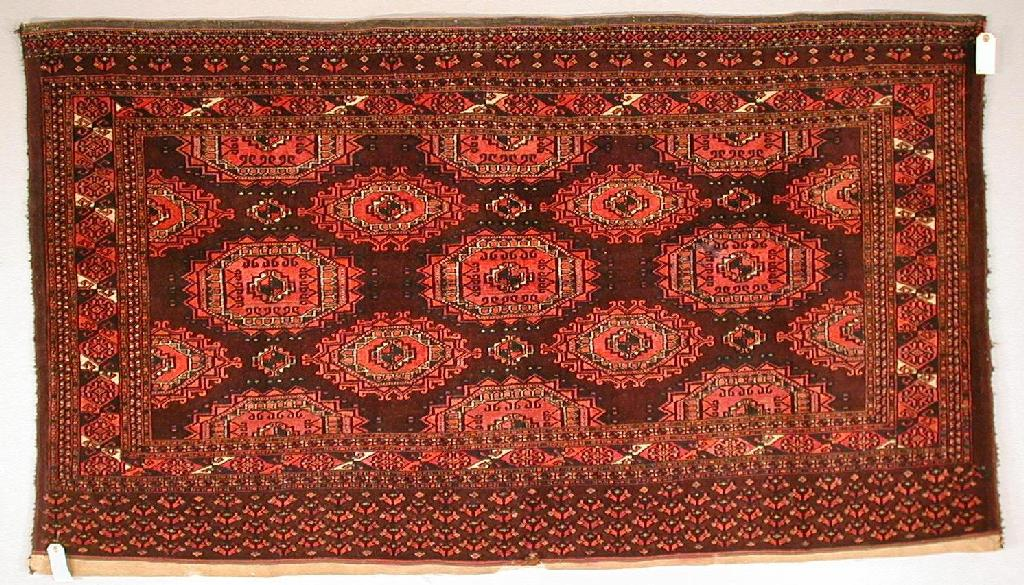 Pair of Saryk Turkmen part silk and cotton chuvals