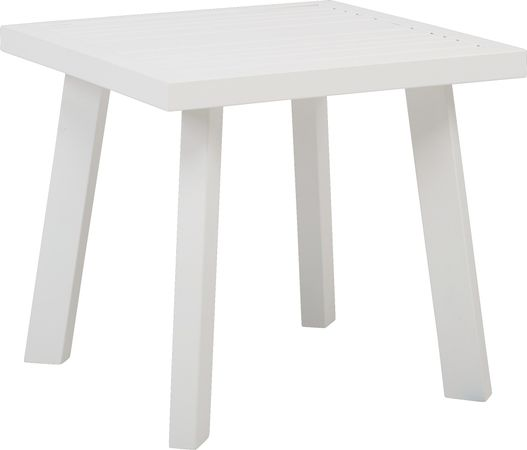 Acadia White Outdoor End Table - Square, Aluminum