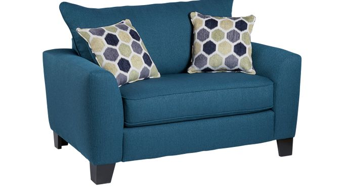 Bonita Springs Blue Sleeper Chair - Transitional, Textured