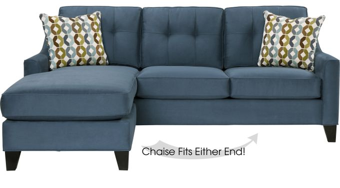 Madison Place Indigo 2 Pc Sleeper Sectional - Contemporary, MicroFiber