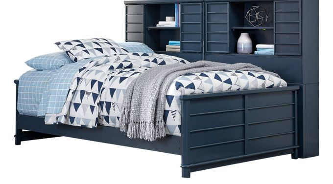 Bay Street Blue 5 Pc Full Bookcase Daybed