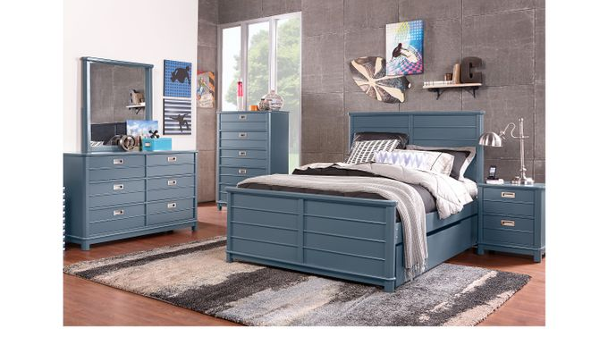 Bay Street Blue 5 Pc Full Panel Bedroom