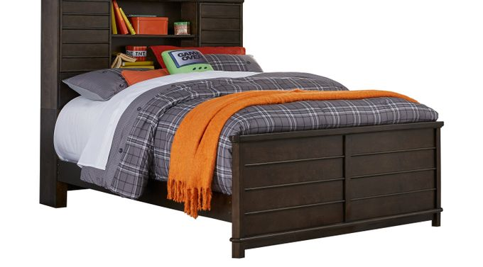 Kids Bay Street Charcoal (dark gray)  3 Pc Full Bookcase Bed