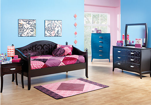 Belle noir dark merlot reddish brown 4 pc daybed bedroom for Rooms to ho kids