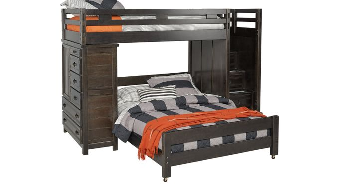 Creekside Charcoal (dark gray)  Twin/Full Step Bunk with Chest - Bunk/Chest