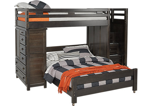 Creekside Charcoal Twin/Full Step Bunk with Chest - Bunk/Chest