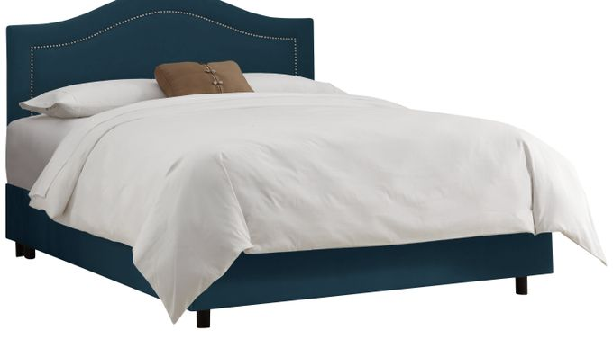 Delana Navy Twin Bed - Upholstered